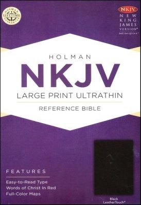 Holy Bible NKJV Broadman & Holman Large Print, Ultrathin, Reference, Leather black