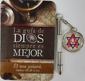 Llavero, mini destornillador, tarjeta: La guía de Dios siempre es mejor. Él nos guiará. Salmo 48:14.