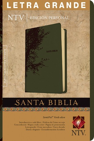 Biblia NTV Edición personal Senti piel verde olivo