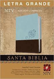 Biblia NTV - Letra grande, compacta, semi piel dos tonos Azul/marrón