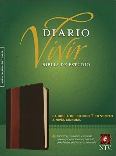 Biblia de estudio Diario Vivir-NTV (Piel cafe/cafe claro)