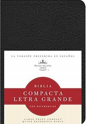 Biblia RVR60 Holman, compacta, letra grande con referencias, imitación negron
