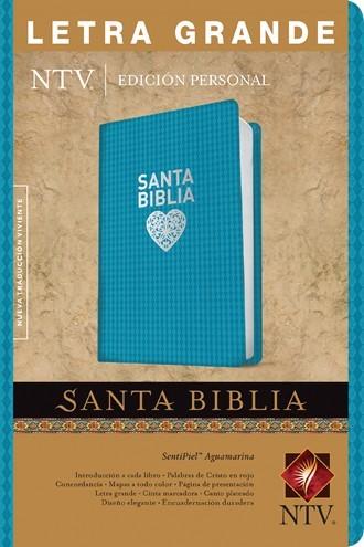 Biblia NTV Edición personal Senti piel Aguamarina