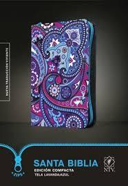 Biblia NTV Edición compacta, Cremallera; tela acolchada lavanda/azul