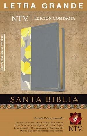 Biblia NTV  - Edición compacta, Letra grande, Senti piel gris/amarillo