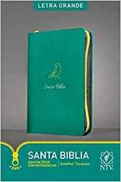 Biblia NTV, Edición cremallera con referencias, Letra grande, Sentipiel, verde turquesa