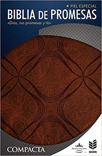 Biblia de promesas compacta - RVR60, Letra grande con índice, Piel especial Café