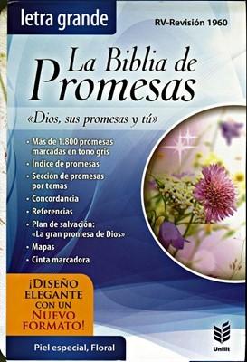 Biblia de Promesas RVR60, Letra Grande, Indice, Piel especial, floral