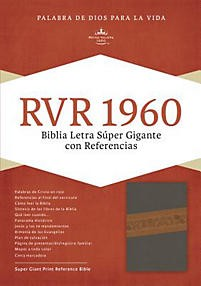 Biblia RVR 1960 Holman Letra Super gigante; simil piel gris/marrón