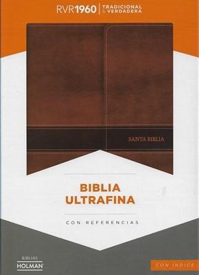 Biblia RVR60 Ultrafina Holman, Índice piel marrón, cierre solapa magnético