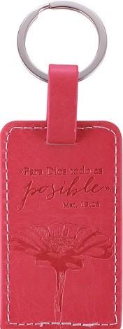 Llavero Mateo 19:26 rosado