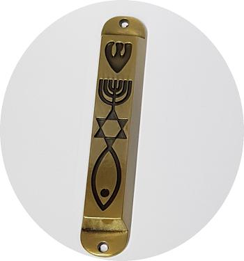 Mezuzá metálica, 10 cms. Candelabro (Menorah), estrella de David, pez