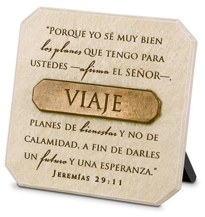 Viaje: Porque yo se muy bien los planes que tengo para ustedes-afirma el Señor... Jeremías 29:11 - Adorno de piedra con placa de bronze